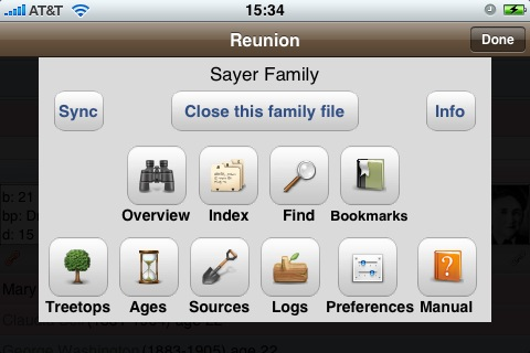 Reunion for iPhone Tools Window