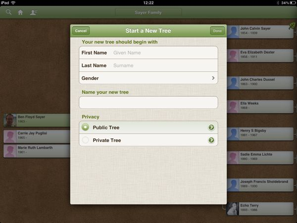 Ancestry iOS 3.1 New Tree Privacy Options