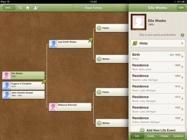Ancestry iOS 3.1 Person View Showing Previously Calculated Relationship