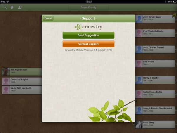 Ancestry iOS 3.1 Support View with Feedback Buttons