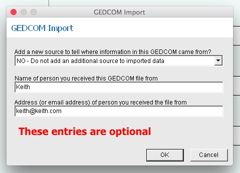 Fig 5 GEDCOM Import options