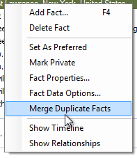 Context Menu Showing Merge Duplicate Facts Option