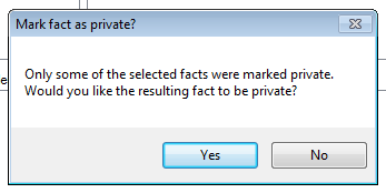 Dialog Box: Mark fact as private?